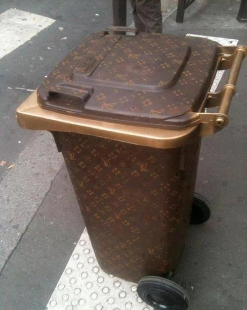 Louis Vuitton Trash Bags absolutely hilarious - diy louis vuitton wheelie bin trash can