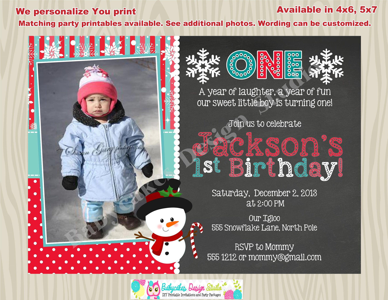 Winter onederland Invitation Invite 1st birthday invitation boy ...