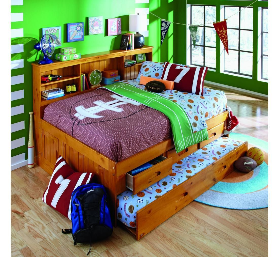 The solid wood construction of this bookcase daybed with a