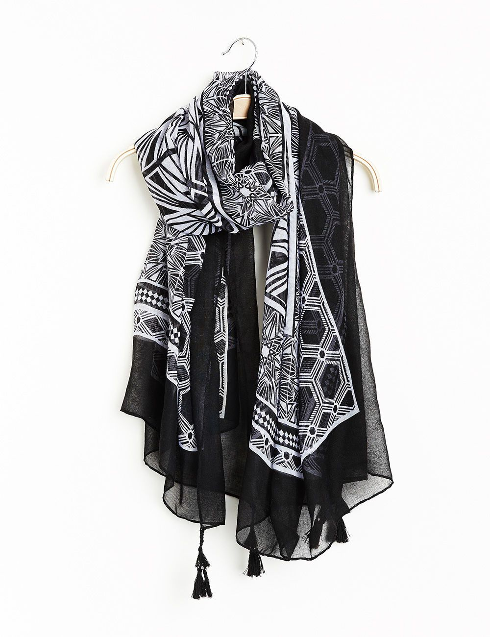 official differently great deals 2017 Foulard imprimé géométrique noir et blanc - Jennyfer e-shop ...