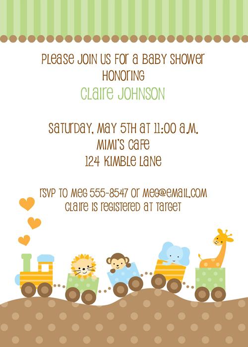 Jungle animal train baby shower invitations baby shower jungle animal train baby shower invitations filmwisefo