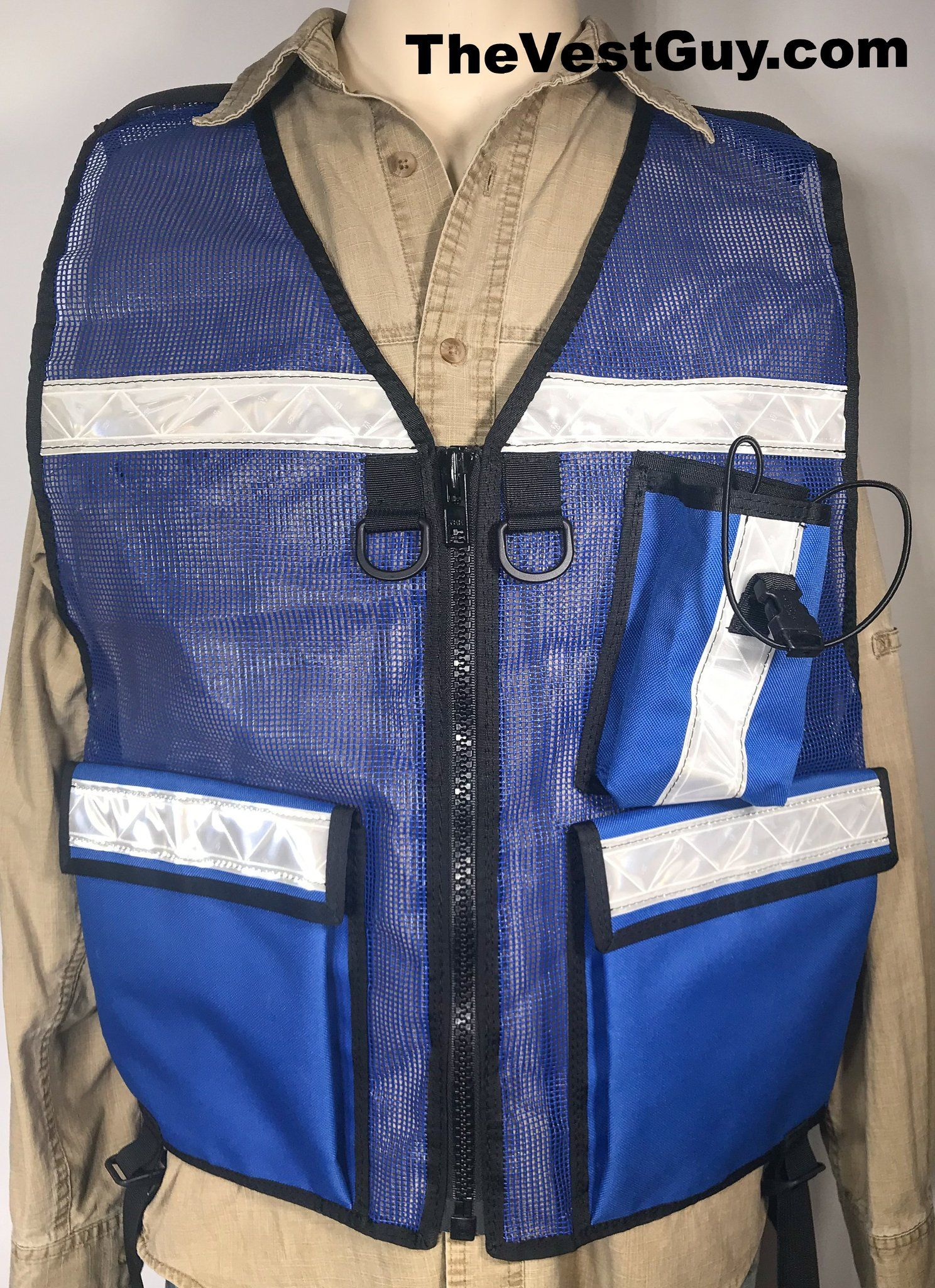 FRA Safety Reflective Vest with radio pocket ; Royal Blue