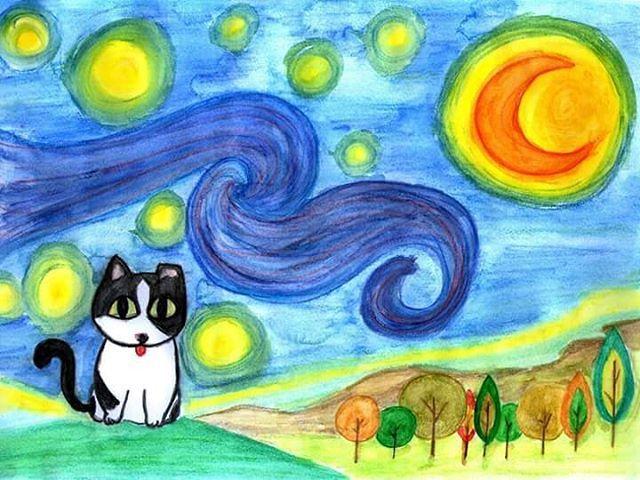 星夜貓 # starry night meow  #cat #drawing  #pencildrawing