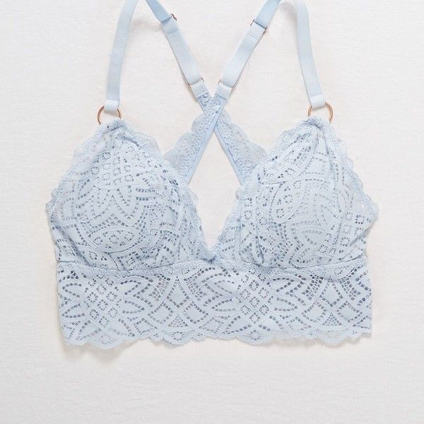 c9c6addb80 Aerie Castaway Lace Padded Longline Bralette ( 18) ❤ liked on Polyvore  featuring intimates