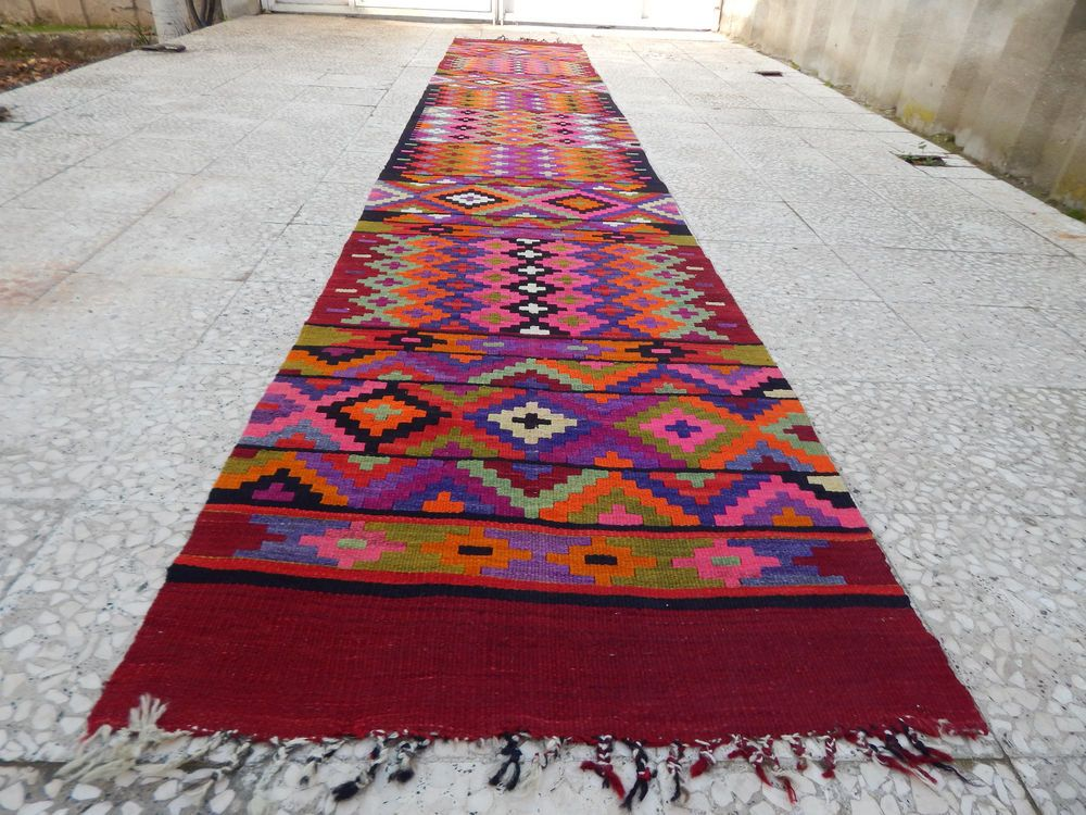 2 5x14 4 Ft Extra Long Handmade Pink Kilim Rug Runner Colorful Wool
