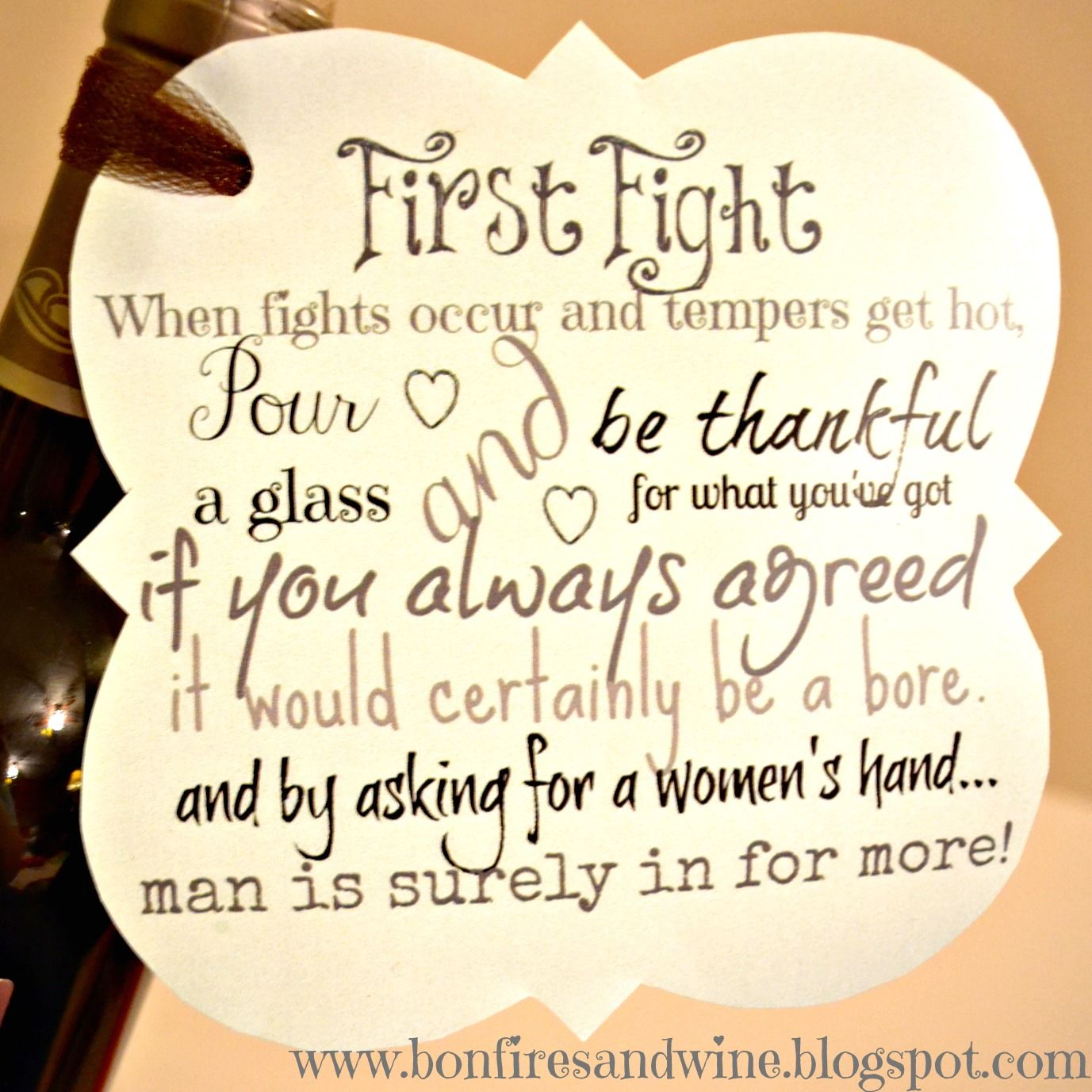 First Fight Box: Bottle Of Wine And Love Letters. Open The