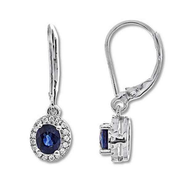 Natural Sapphire Earrings 1 8 Ct Tw Diamonds 10k White Gold In 2019 Products Sapphire Earrings Natural Sapphire Diamond