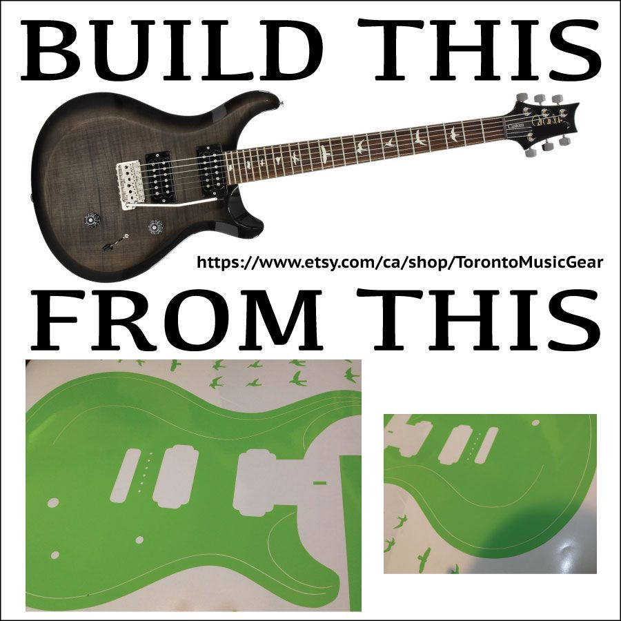 PRS template made from cut vinyl to apply to MDF or acrylic for ...