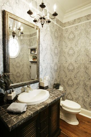 like that wallpaper! overall nice mix of feminine and masculine elements. Lakeside I | Photo Gallery of Custom Delaware New Homes by Echelon Custom Homes