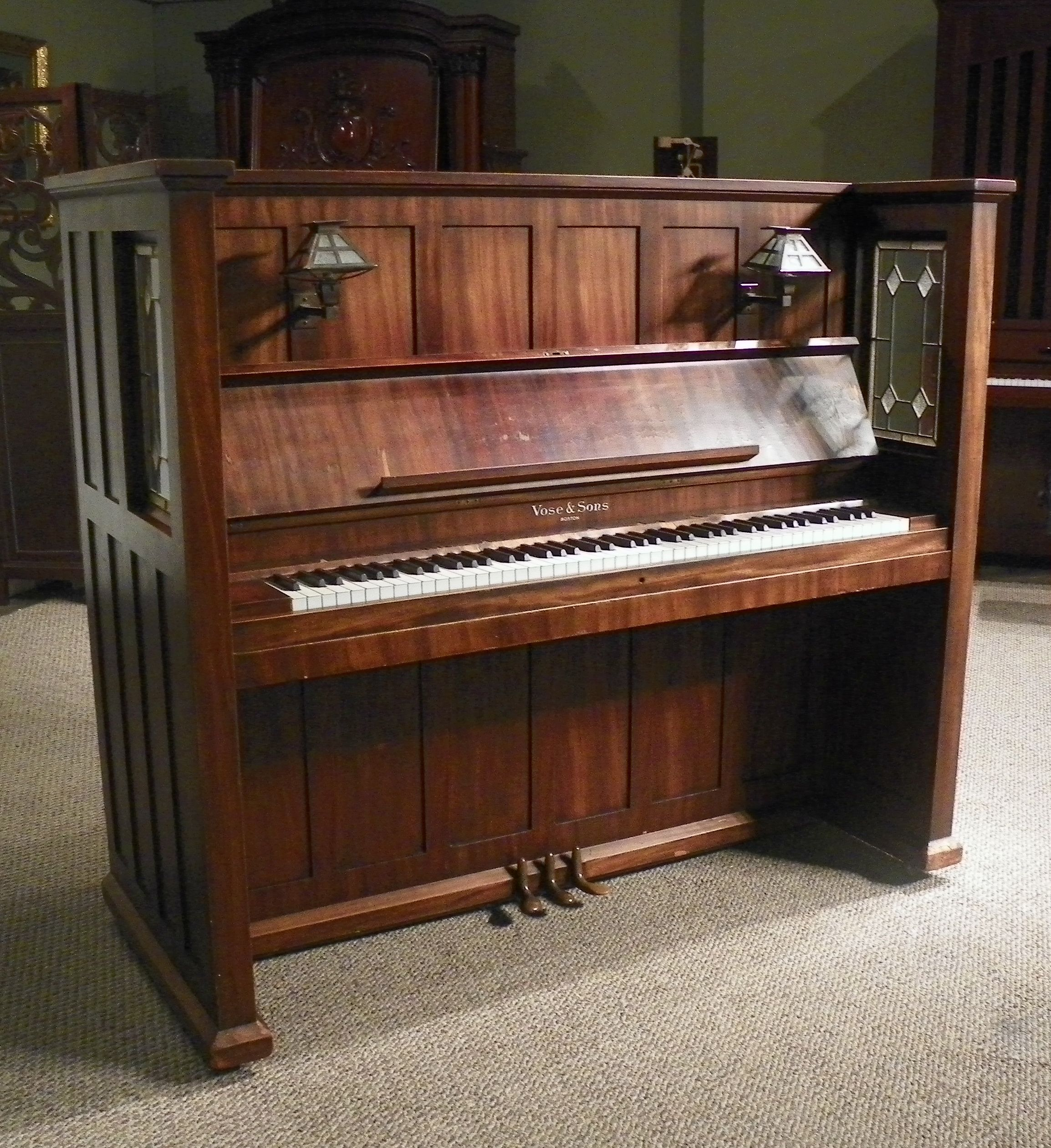 Upright Victorian Piano With Fluting And Inlaid Decoration Benches/stools Well Loved And Used.