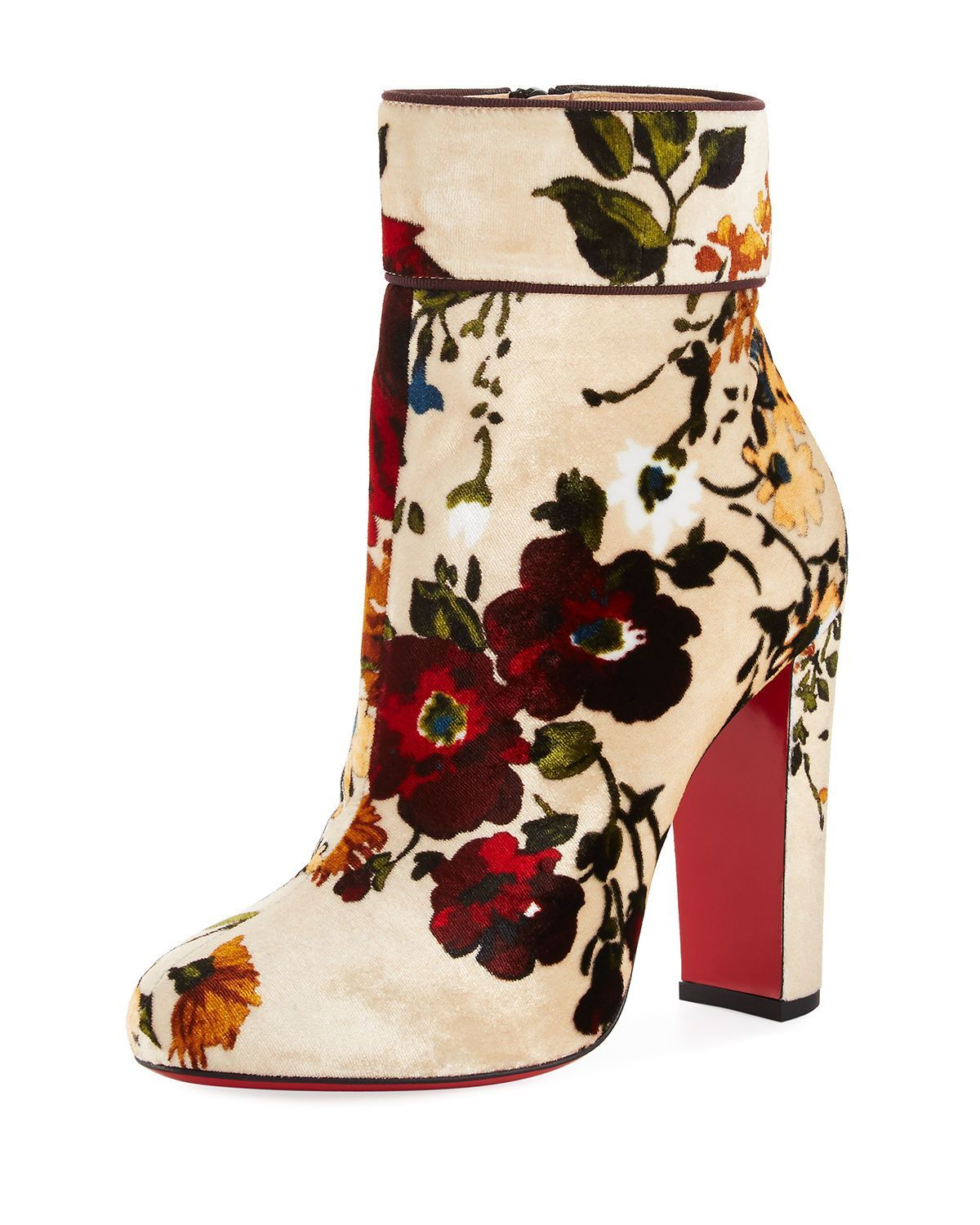 be47a030aaf Christian Louboutin Moulamax Floral Velvet 100mm Red Sole Bootie ...