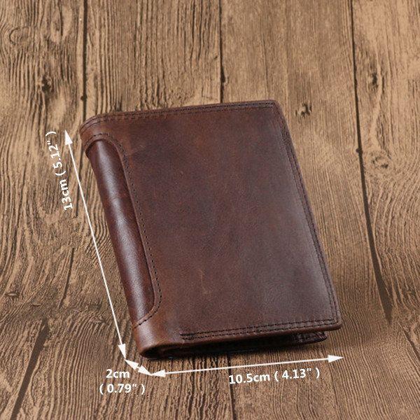 4112e98cd6ff Vintage Genuine Leather Tri-fold Wallet 12 Card Slots Short Wallet ...