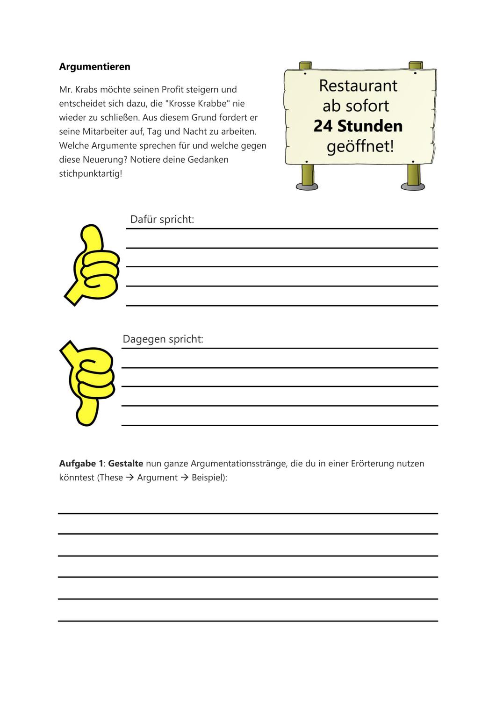 Argumentieren Mit Spongebob Schwammkopf Spongebob Schwammkopf Schwammkopf Deutsch Unterricht