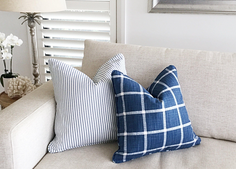 Farmhouse check cushion cover ticking stripe cushions blue
