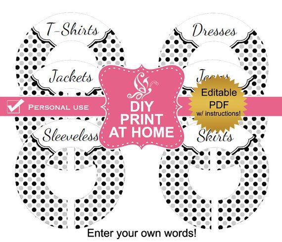Diy Editable Printable Adult Closet Dividers Pdf Clothes