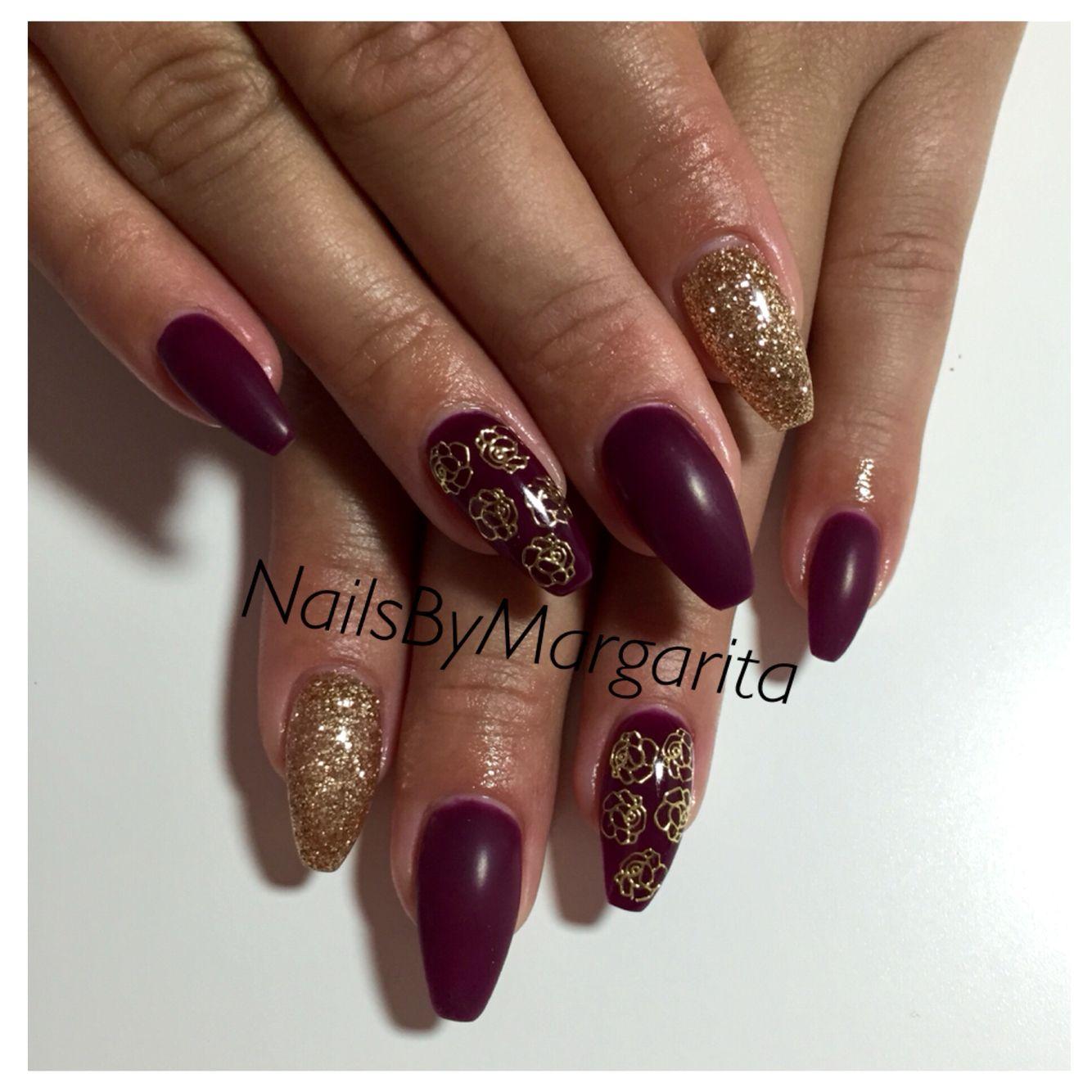 Matte Dark Plum Coffin Nails Gold Glitter Nail Art Fall 2014 ...