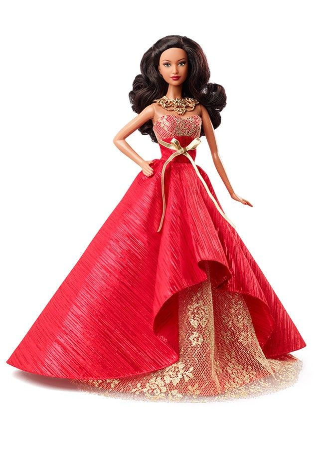 http://www.barbiecollector.com/shop/doll/2014-holiday-barbie-african-american-bdh14  -  2014 African American Holiday Barbie Doll