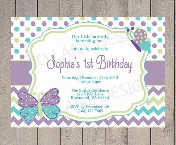 Girl First Birthday Invitation Butterflies By VividLaneDesigns - 1st birthday invitations girl purple