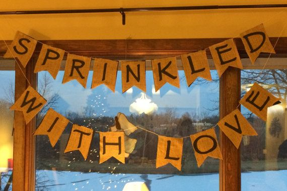Sprinkled or Showered with Love  Burlap Banner by RedBabyCreations