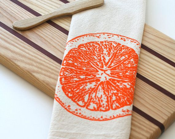 Flour Sack Towel  Orange Slice  Hand Screen by SproutedDesigns, $12.00