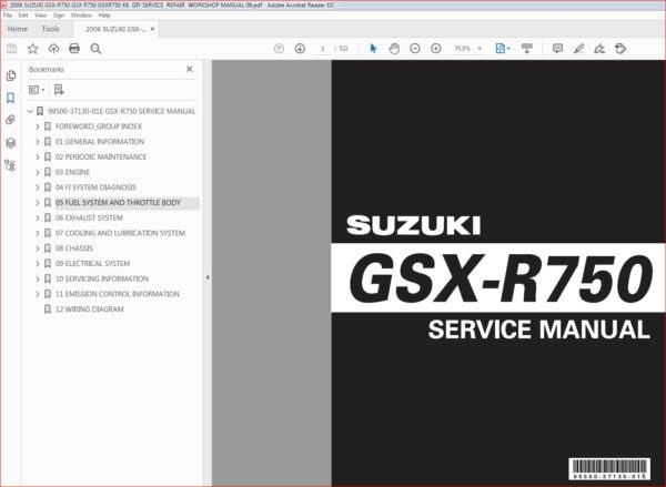 2006 Suzuki Gsx R750 Gsx R750 Gsxr750 K6 Diy Service Repair Workshop Manual Pdf Download In 2020 Gsx Repair Suzuki Gsx
