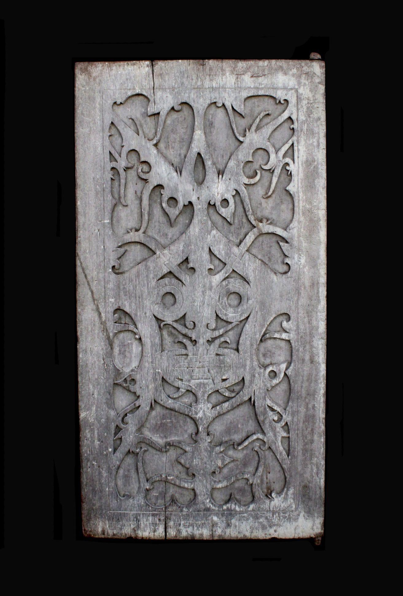 "Nobleman's Door. Hard wood. H: 38"" (97 cm), W: 19.5"" (50 cm). 19th to early 20th century. Kayanic Dayak complex. East Kalimantan, Borneo Isl..."