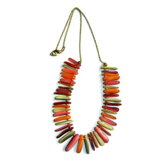 Peaches and Creme Stick Shell Necklace by CloudNineDesignz on Etsy, $25.00