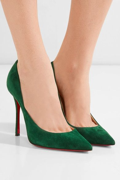 f6c0db23348b CHRISTIAN LOUBOUTIN Decoltish 100 Forest-green suede pumps in 2019 ...