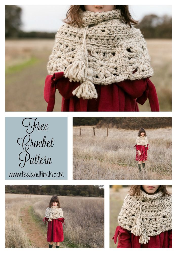 Granny Square Capelet Free Crochet Pattern | Capelet, Super bulky ...