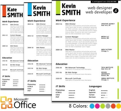 Web Designer Resume Template for Microsoft Word Office Our - resume format download in ms word