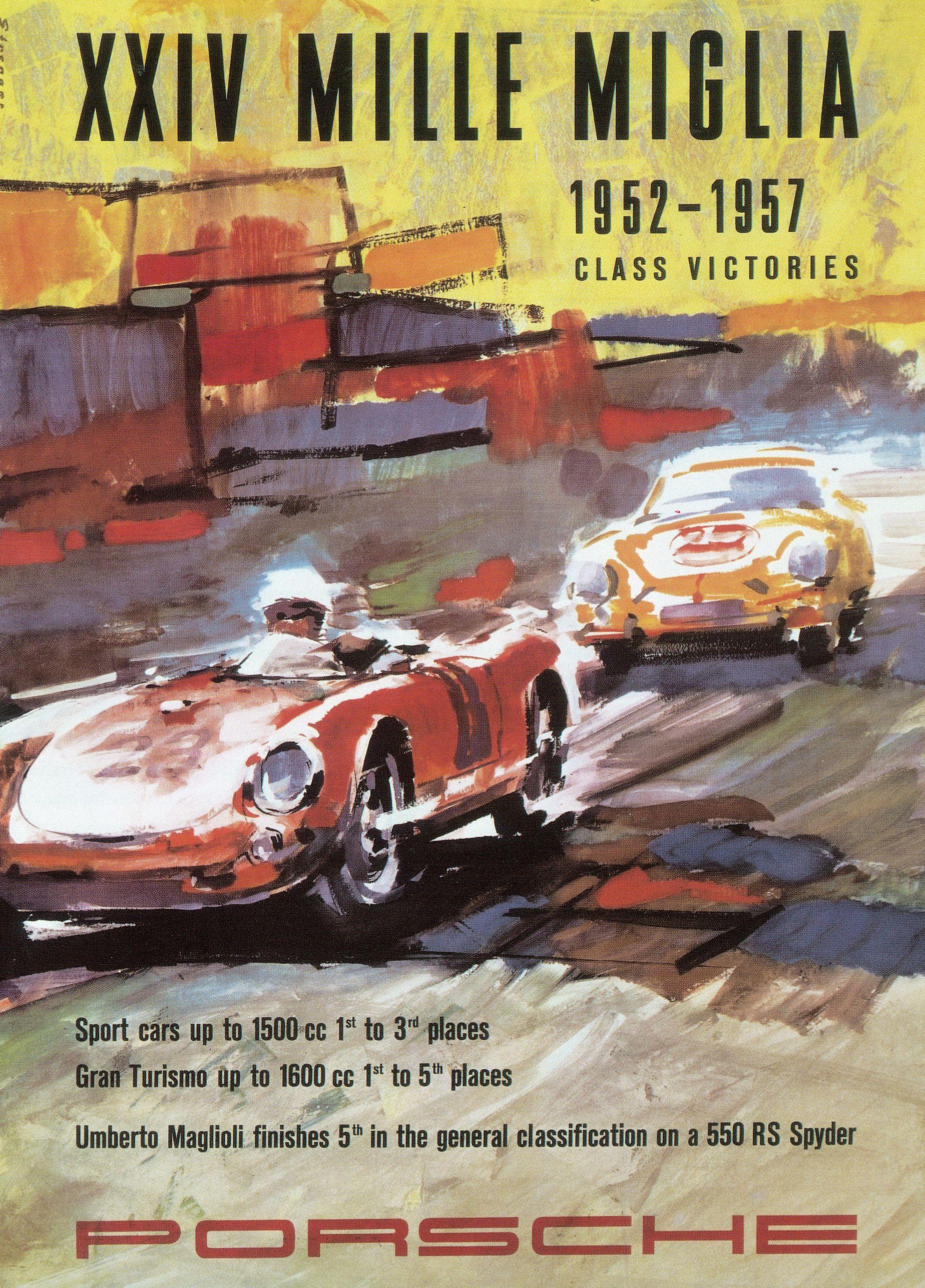 Vintage 1952 Porsche International Motor Racing Poster  A3 Print