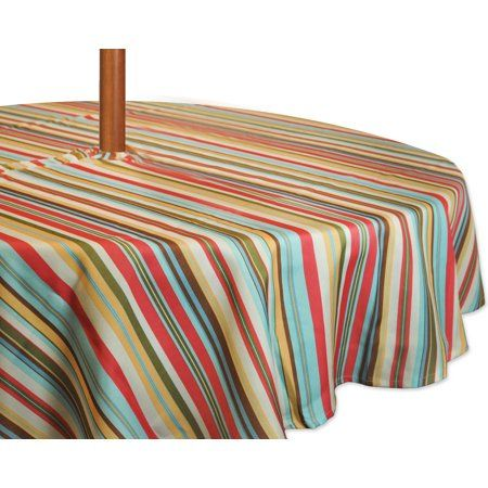 Dii Summer Stripe Outdoor Tablecloth With Zipper 60 Round Size 60