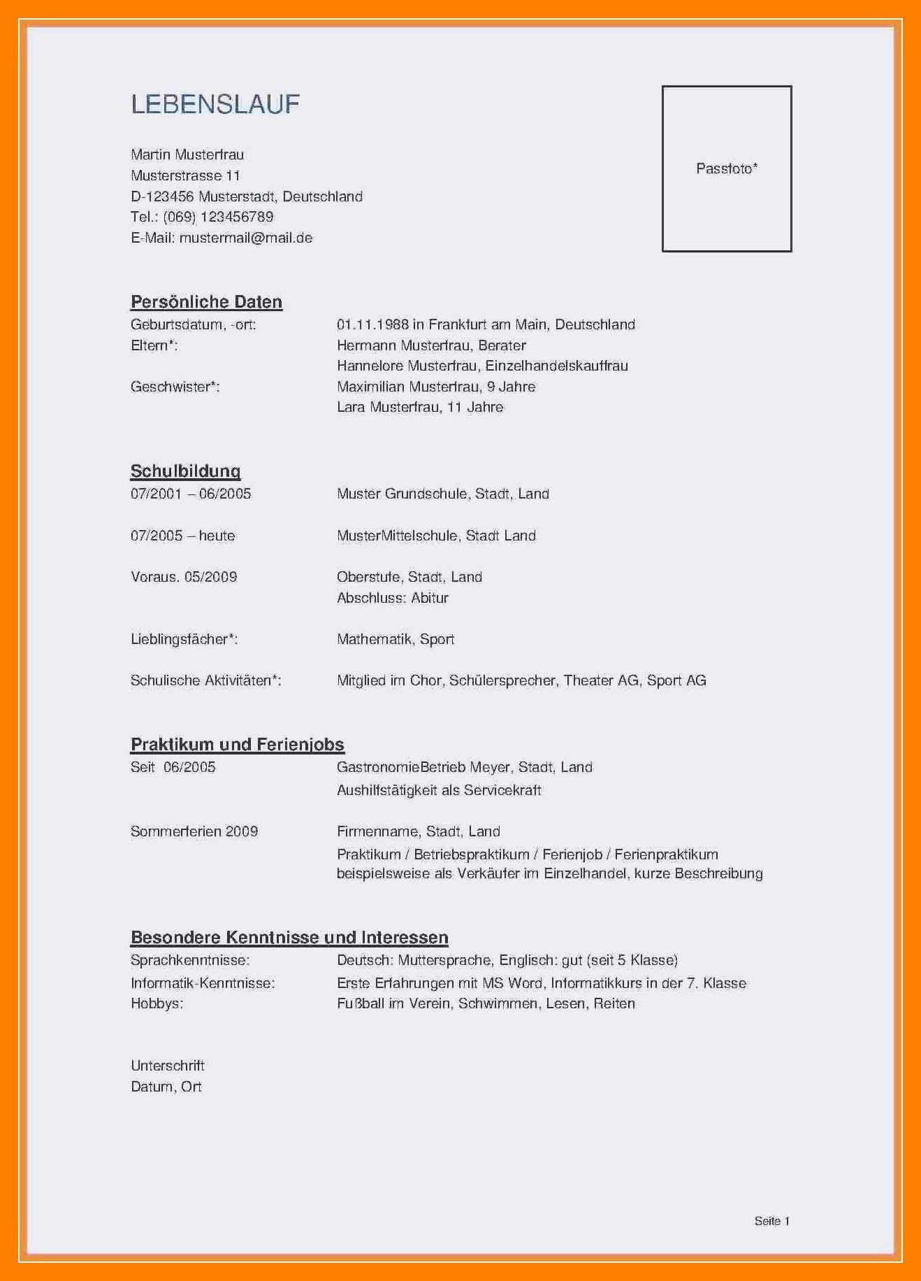 Briefprobe Briefformat Briefvorlage Lebenslauf Schulbildung Bildung