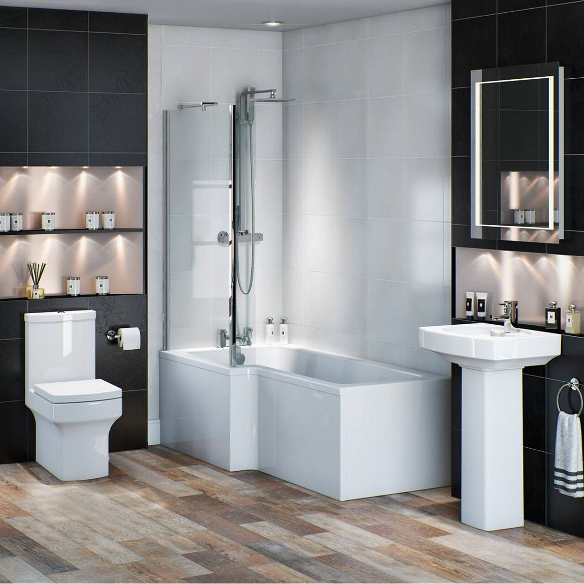 vermont shower bathroom suite lh now only from. Black Bedroom Furniture Sets. Home Design Ideas