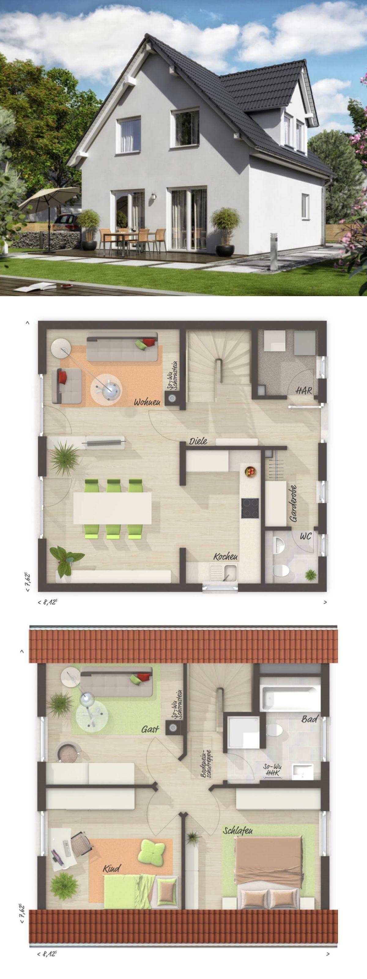 Satteldach Haus mit Gaube Raumwunder 90 Trend