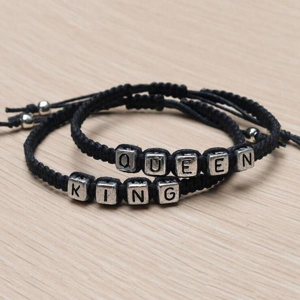 fcb3ad5475 2 pcs of Couples Bracelets Set King and Queen Bracelet Handmade Lovers  Bracelets (Black) - Color: Black. - Material: Braided string.