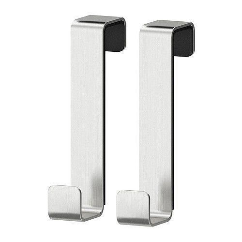 Ikea LillÅngen Stainless Steel Over Door Hook For Cupboards Doors 2 Pack