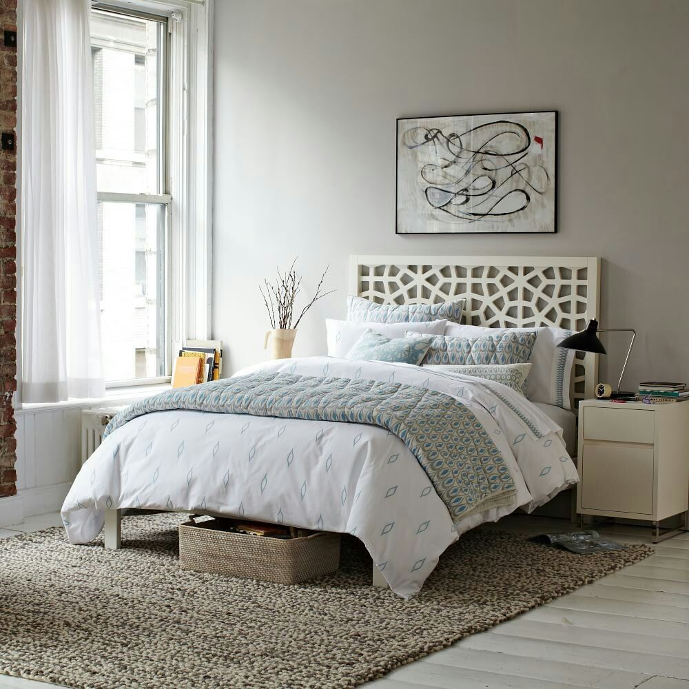 West Elm Morrocan Bed White Headboard White Wall Bedroom