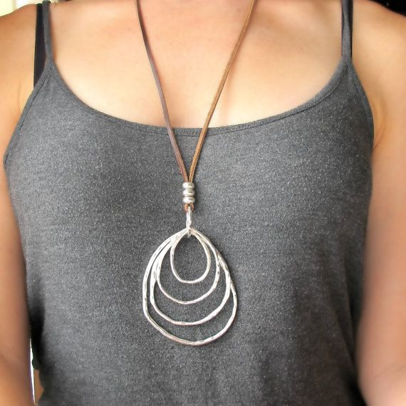 Long Leather jewelry Ring necklace Casual looks Boho style Silver Circle Neck Big Circle Pendant  Gift for Her Women accessories