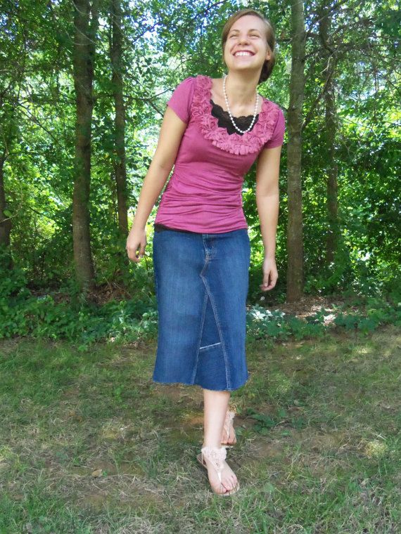 e4bb2100cf91 Denim Skirt Knee Length Midi Skirt Available in Plus Size Clothing and Maternity  Clothes Apostolic Clothing Modest Denim Skirt | Denim Skirts by Whimsical  ...