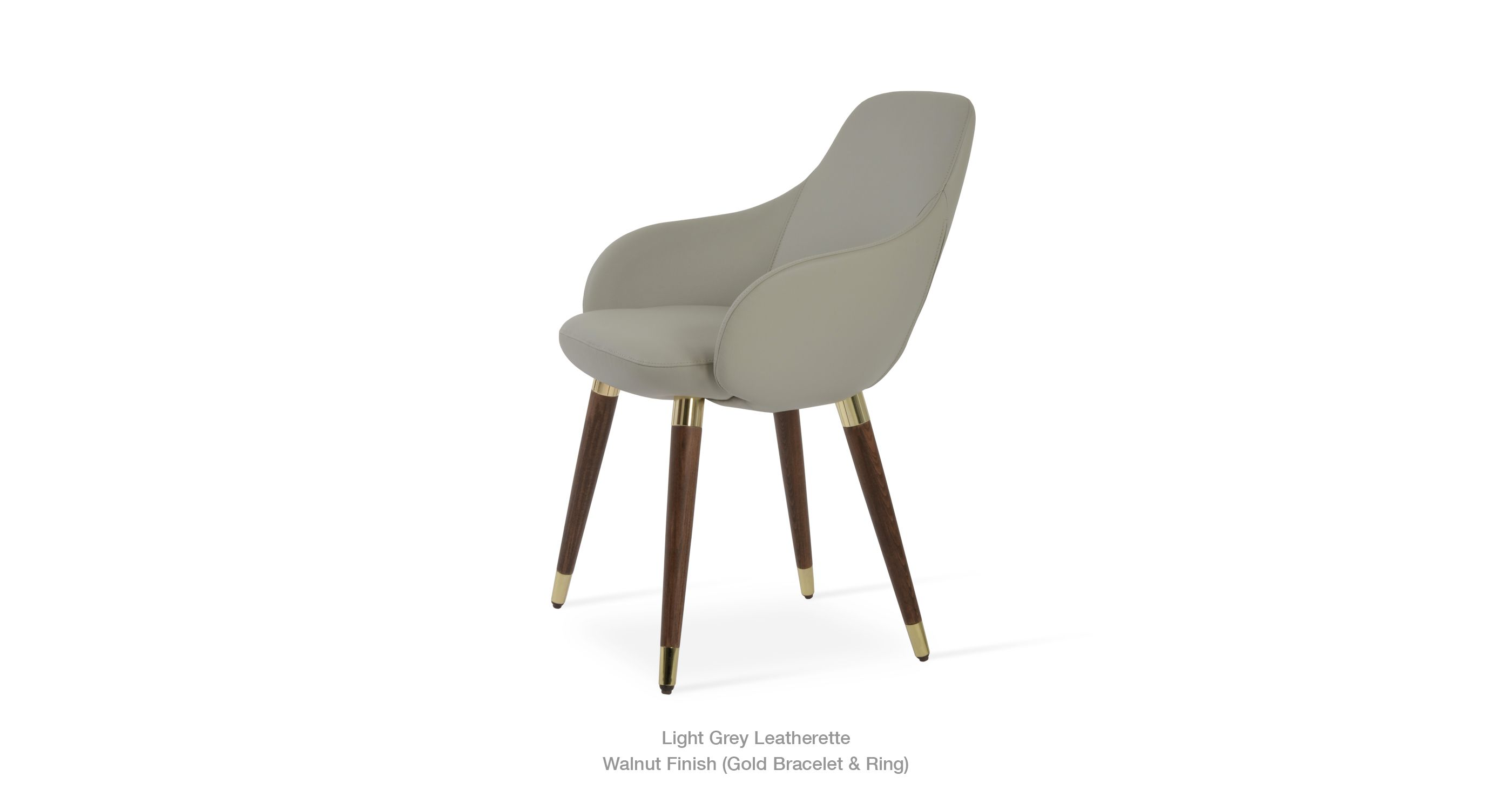 Gazel Wood Light Grey Leatherette Gold Modern Dining Chairs