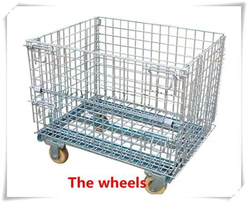 Metal galvanized wire mesh cage /wire mesh pallet cage with wheel ...