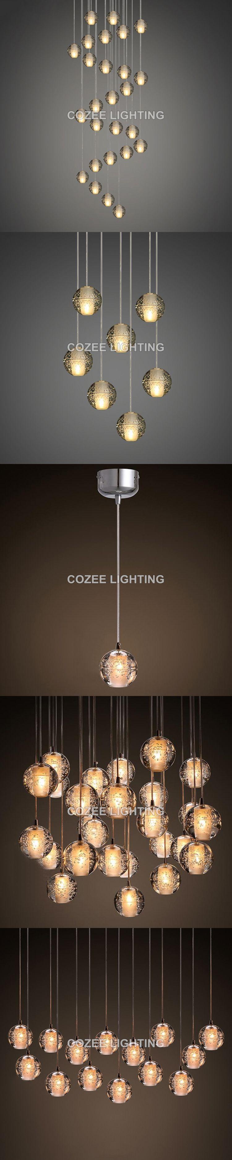 Modern Crystal Chandelier LED Hanging Lighting Glass Globe Orb
