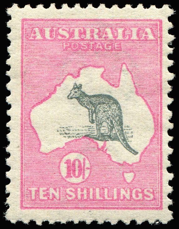 177998b629a AUSTRALIA - Kangaroos - First Watermark 10/- Grey & Pink few blunt perfs,  mint, Cat $2,000. Dealer Phoenix Auctions Auction Starting Price.
