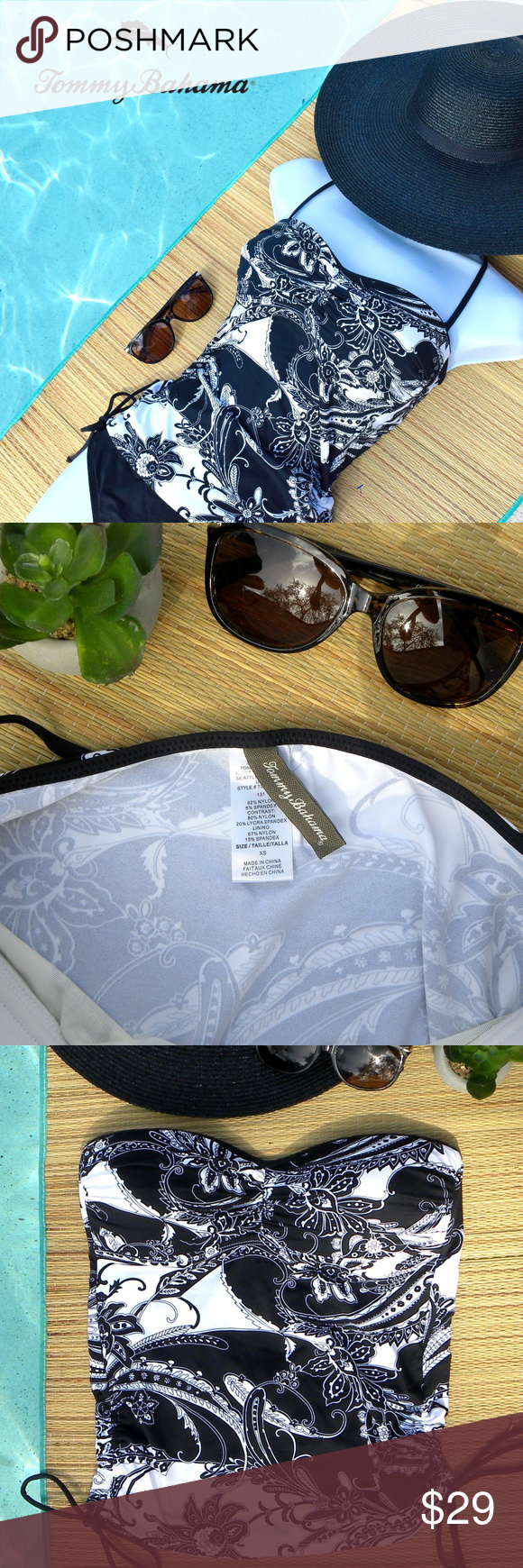 TOMMY BAHAMA Tankini Top This Tommy Bahama strapless tankini (TOP ONLY) comes in a crisp black and white paisley floral print. Comes with detachable halter strap. Drawstrings at sides to adjust length and ruching. Molded foam bra cups. Pull over.  EUC. Tommy Bahama Swim