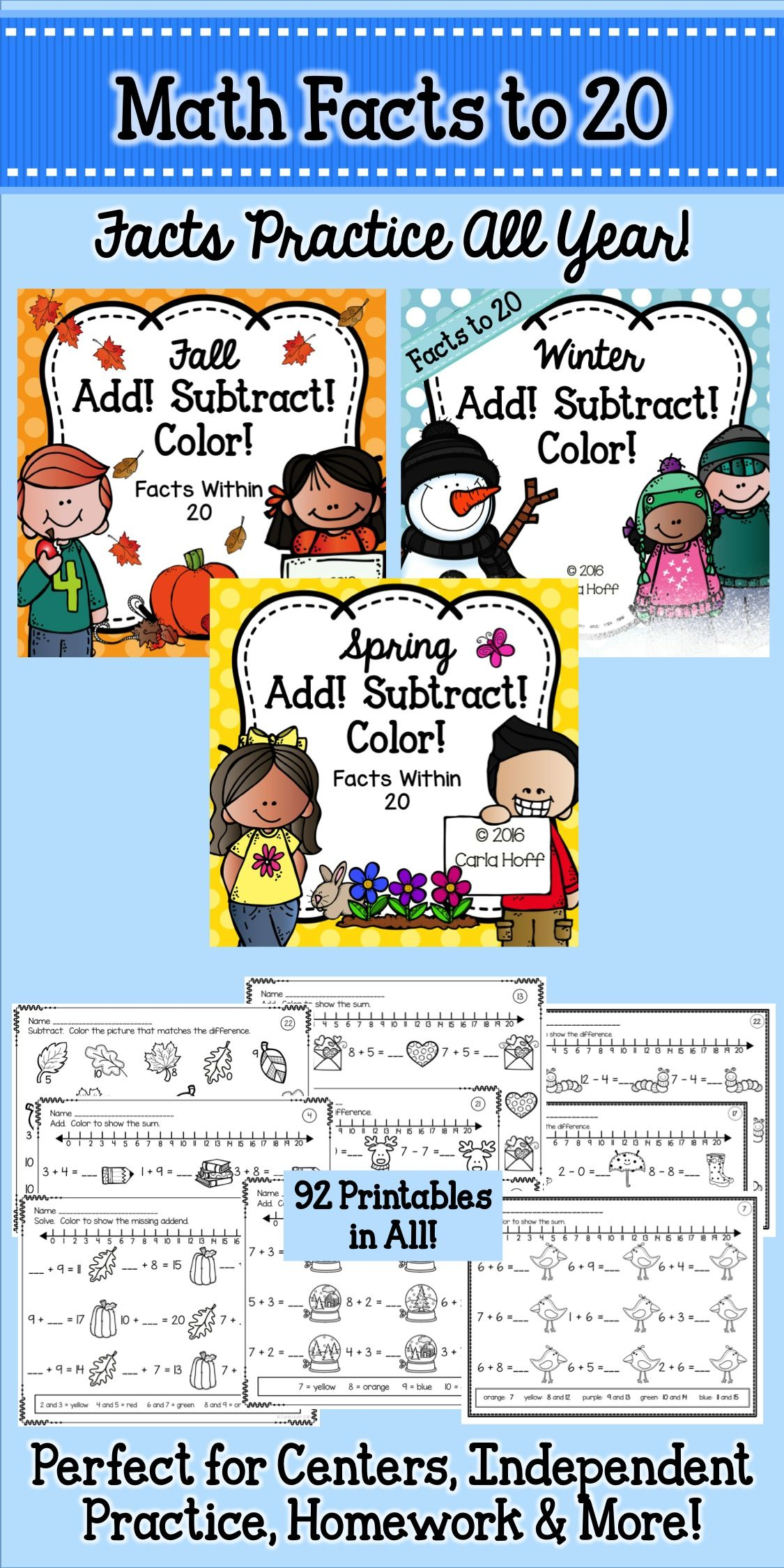 Add! Subtract! Color! is such a fun way to provide practice with addition and subtraction within 20.  This money-saving bundle includes 93 printables in all, illustrated with seasonal and non-seasonal images so they can be used year round!  Perfect for centers, morning work, independent practice, or homework.