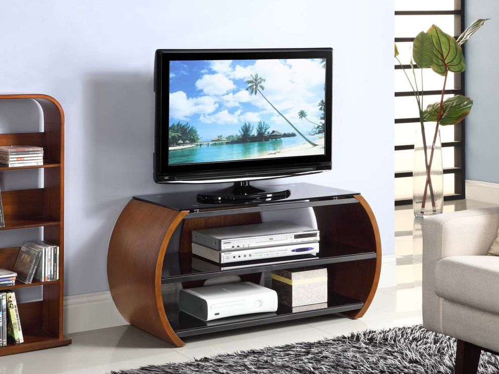 Jual Curved Side Modern TV Stand With 2 Shelves   Walnut (TV U0026 Media Unit