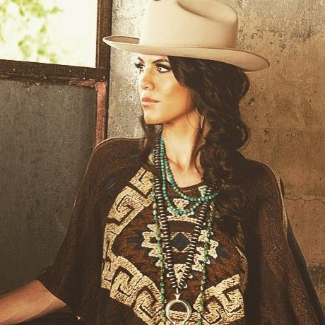 La Serena Poncho by Double D Ranch with the Stetson Open Road cowboy hat. 2c7e1f61916