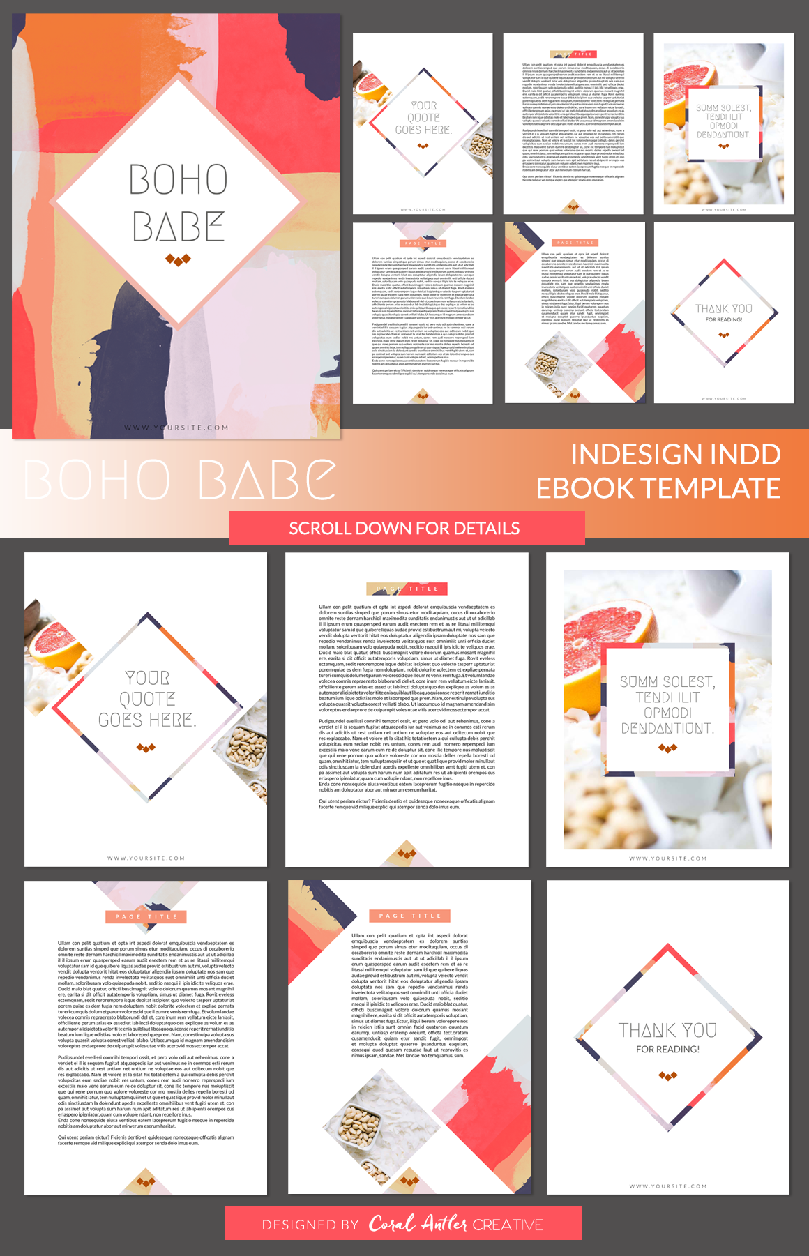 Boho Babe InDesign Ebook Template by Coral Antler Creative on