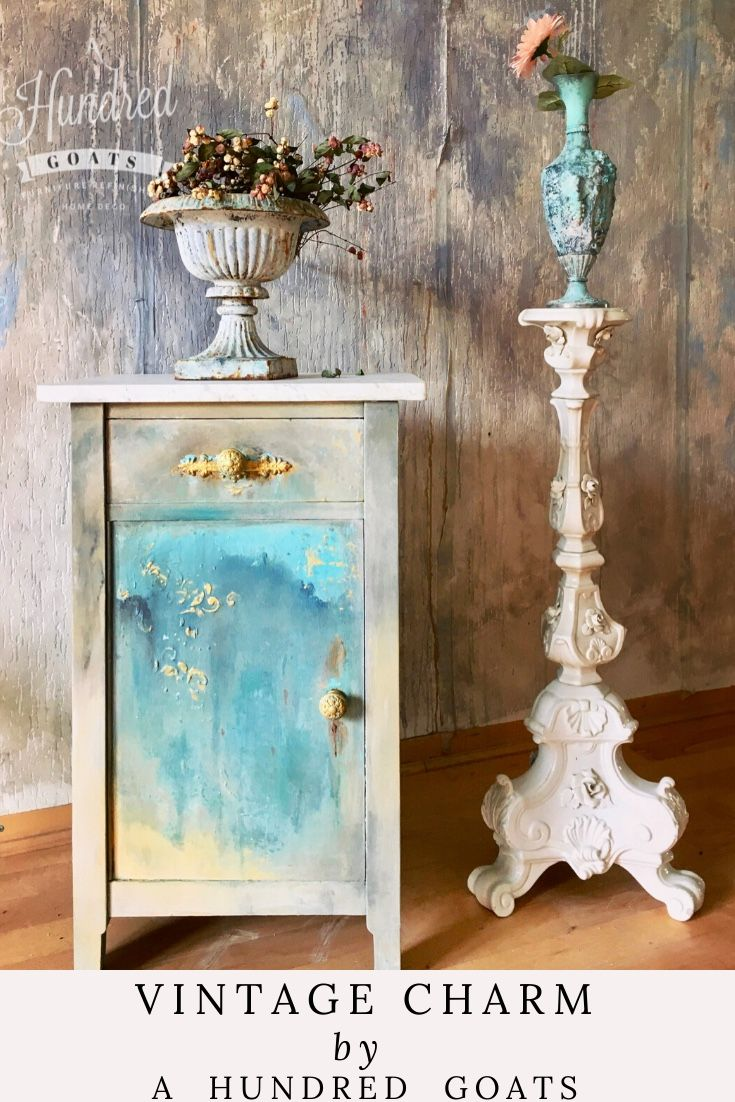 An old vintage cupboard. Hand painted to fit a modern shabby chic style. Custom mixed colors. A combination of Annie Sloan chalk paints and acrylics with metallic paint for the gilded highlights. #anniesloanhome #shabbychic #modernvintage #turquoisefurniture #bluefurniture #furnituremakeover #commodemakeover #ahunderdgoats